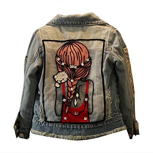 SXSHUN Fille Veste en Jeans Manches Longue Jacket Blouson Imprimé Cristal Denim Cowboy Outwear Enfants Haut VêTements, Bleu Clair, 12-14 Ans(Taille Fabricant: 160)