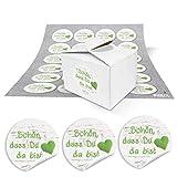 48 kleine Geschenkboxen Holz Optik weiß 8 x 6,5 x 5,5 und 48 runde Aufkleber 13467 4 cm in hell-grün weiß gepunktet mit HERZ SCHÖN, DASS DU DA BIST Pappschachtel Pralinenschachteln
