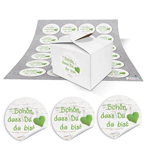 48 kleine geschenkdozen met houten look, wit, 8 x 6,5 x 5,5 en 48 ronde stickers 13467 4 cm, in lichtgroen en wit, gestippeld met hart mooi dat je da bist kartonnen doosjes bonbonbondoosjes