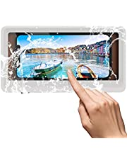 TiMOVO Wall Mounted Shower Phone Holder for Phones Under 6.8 inch, Waterproof Anti-Fog Touchable Screen Sealed Phone Case Holder with 3 Stickers for Bath,Shower,Kitchen - White + Chocolate