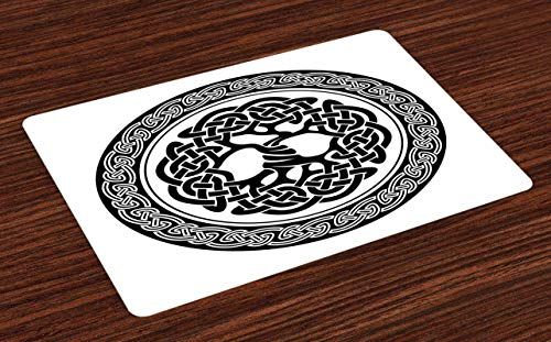 Celtic Place Mats Set of 4, Native Celtic Tree of Life Ireland Early Renaissance Modern Design, Washable Fabric Placemats for Dining Room Kitchen Table Decor, Black White