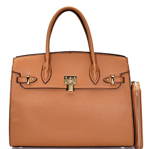 New! Deluxity Large Carry-all Padlock Accent Structured Tote + Wallet- Tan