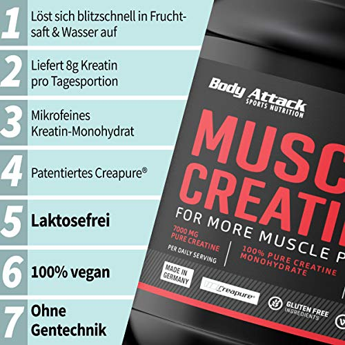 Body Attack Muscle Creatine, 1er Pack (1 x 500 g) - 2