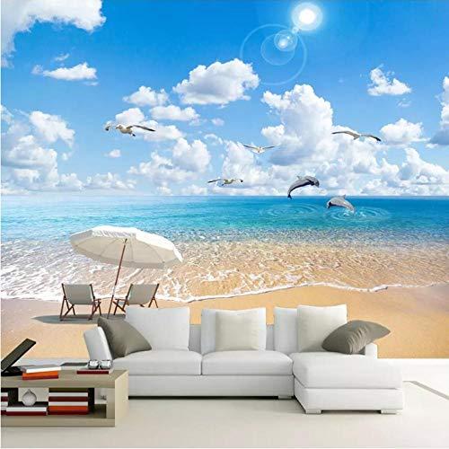 Wuyii Gebruikergedefinieerde 3D fotobehang zandstrand zeeland golf woonkamer slaapkamer sofa tv achtergrond wanddecoratie muurschildering 200 x 140 cm.