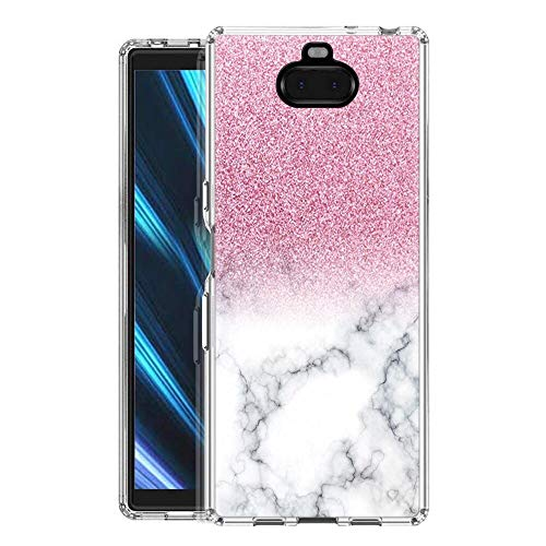 Pnakqil Hülle kompatibel mit SonyXperia10 Phone, Silikon Schutzhülle TPU Clear Transparent Kratzfest Ultra Dünn Stoßfest Motiv Muster Handyhülle Weiche für SonyXperia10,Rosa und weißer Glitter