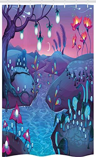 ABAKUHAUS Paddestoel Douchegordijn, River Paddestoelen Bomen, voor Douchecabine Stoffen Badkamer Decoratie Set met Ophangringen, 120 x 180 cm, Blue Fuchsia
