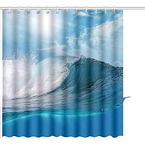 Cortina De Ducha Ocaen Vista del Paisaje Marino Gran Oleaje Oceánico con Cielo Ligeramente Nublado El Sol Conjuntos De Baño con Poliéster Gráfico 122X183CM