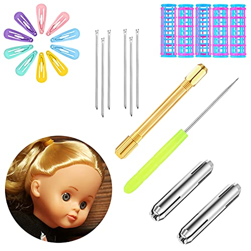 18 Pieces Doll Hair Rooting Tool Set Hair Rooting Holders Reroot Rehair Tools with Doll Hair Curler Holder Tool Hair Transplant Needles Awl Mini Doll Hairpins for DIY Handle Doll Wig Tool Supplies
