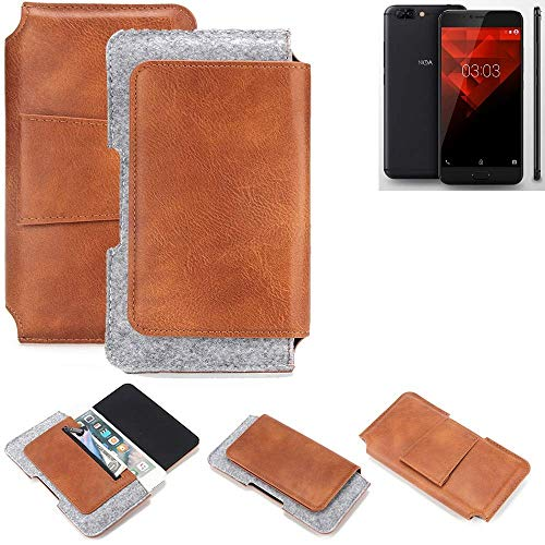 K-S-Trade® Schutz Hülle Für NOA H10le Gürteltasche Gürtel Tasche Schutzhülle Handy Smartphone Tasche Handyhülle PU + Filz, Braun (1x)