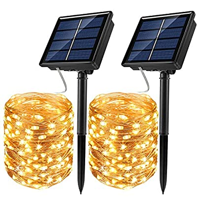 JosMega Upgraded Solar Powered String Fairy Lights 2 Pack 72 ft 200 LED 8 Modes Waterproof IP65 Twinkle Lighting Indoor Outdoor Fairy Firefly Lights Auto ON/Off (2 Pack 72 ft 200 LED, Warm White)