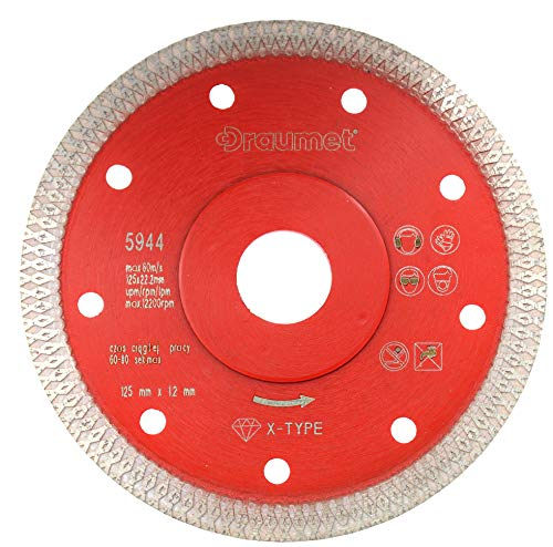 Diamant slijpschijf 125 mm x 22,23 mm X-type segment diamantschijf voor het snijden van natuursteen keramiek tegels beton en fijnsteengoed voor haakse slijpers 125 mm tegelsnijder