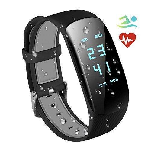 Fitness Tracker, braccialetto intelligente fitness RobotsDeal H2,Impermeabilità IP67 con Cardiofrequenziometro, Braccialetto Smart per Fitness, Sport, Pedometro, Monitoraggio Automatico delle Attività, per Telefoni iOS e Android (Nero)