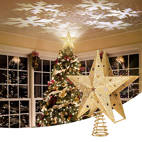Apatner 11' Christmas Star Tree Topper Lighted with Rotating Snowflake Projector,3D LED Christmas Tree Topper Baubles Star Tree Topper for Xmas Tree Decor(Golden)