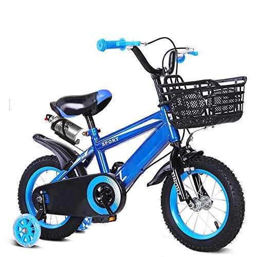 YUMEIGE Kinderfietsen Freestyle Jongensmeisjes, kinderfiets, fiets 3 kleuren, 12,14, 16, 18,20 inch met waterkoker en bekerhouder, kinderfiets 2-15 jaar kindercadeau 14in Blauw
