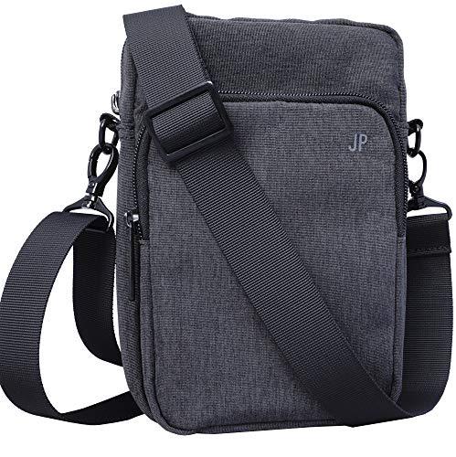 JP Journey Kleine Umhängetasche für Herren und Damen, Messenger Bag bis 7 Zoll, Wasserabweisend, 1,7 Liter Grau