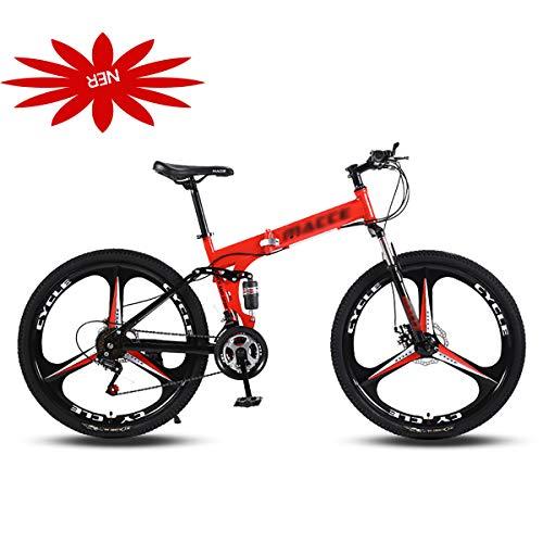 Bicicleta de montaña plegable, bicicleta de carretera plegable portátil de 24/26 pulgadas Sistema de cambio de marcha conveniente Bicicleta Bicicleta de 21 velocidades Suspensión completa MTB para