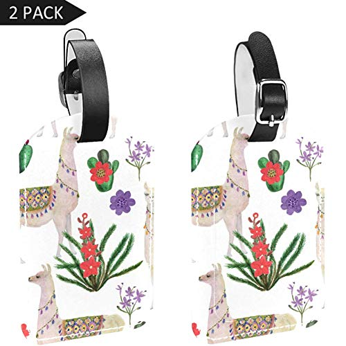 Luggage Tags Llama and Cactus Leather Travel Suitcase Labels 2 Packs