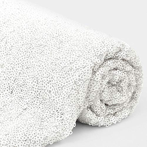 3 Feet 1 Yards White Sequin Fabric Decorative Linen for Tablecloth Table Runner Photo Booth Backdrops