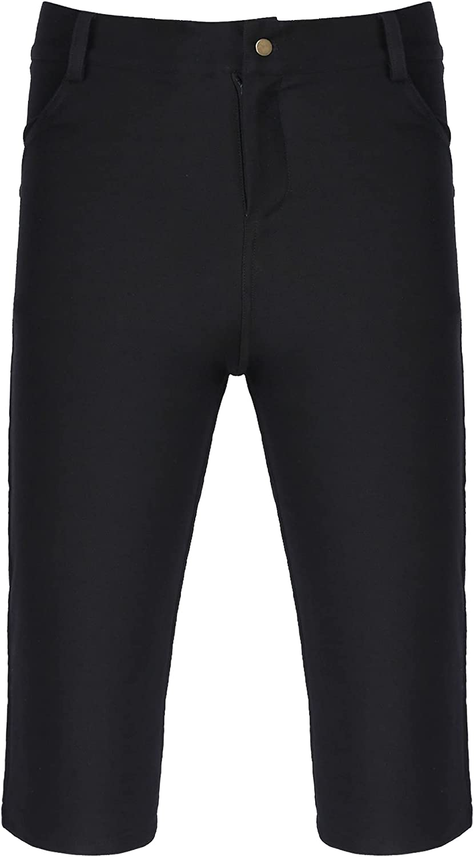 FEESHOW Men's Jean Shorts Mid Waist Slim Fit Skinny Denim Shorts Zipper Button Short Pants with Pockets