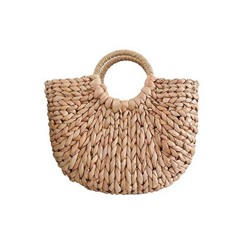 Tonpot Handgefertigte Umhängetasche aus geflochtenem Stroh, halbrunde Handtasche aus Rattan, Bohemian-Stil, Damen, #Braun, 30*20cm