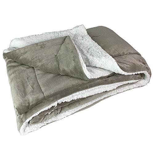 FineHome kwaliteit Sherpa woondeken knuffeldeken deken sprei lamsvel optiek 150x200cm taupe/wit