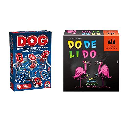 Schmidt Spiele 49201 Dog, Den letzten beissen die Hunde, Familienspiel, bunt & 40879 Dodelido, DREI Magier Kartenspiel