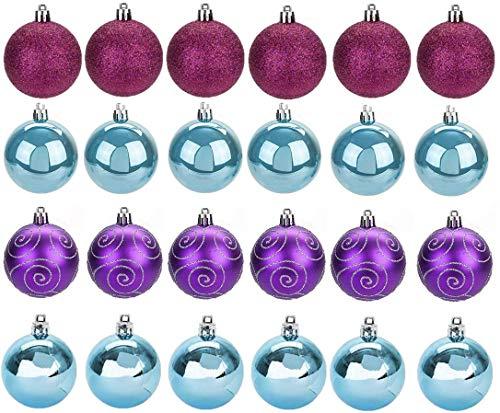 Toyland Confezione da 24 - Palline per Alberi di Natale Blu Ghiaccio, Fucsia e Viola da 6 cm - Design Opaco e Glitter Lucido - Decorazioni Natalizie