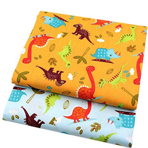 40cmx50cm 2 Piezas/lote Dibujos Animados Dinosaurio Tela de Algodón para Patchwork Coser Telas para Bebé Niño Juguete DIY Zapatos Bebé Cojines Almohada Tissu