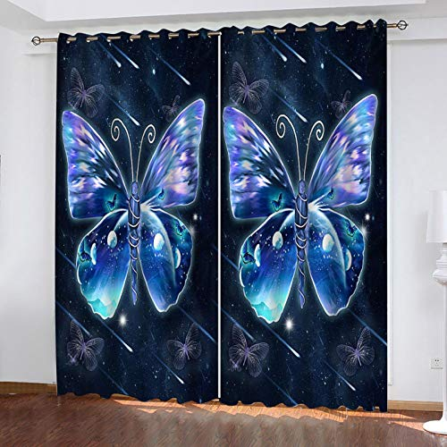 WLHRJ Cortina Opaca en Cocina el Salon dormitorios habitación Infantil 3D Impresión Digital Ojales Cortinas termica - 264x210 cm - Mariposa Azul Abstracta