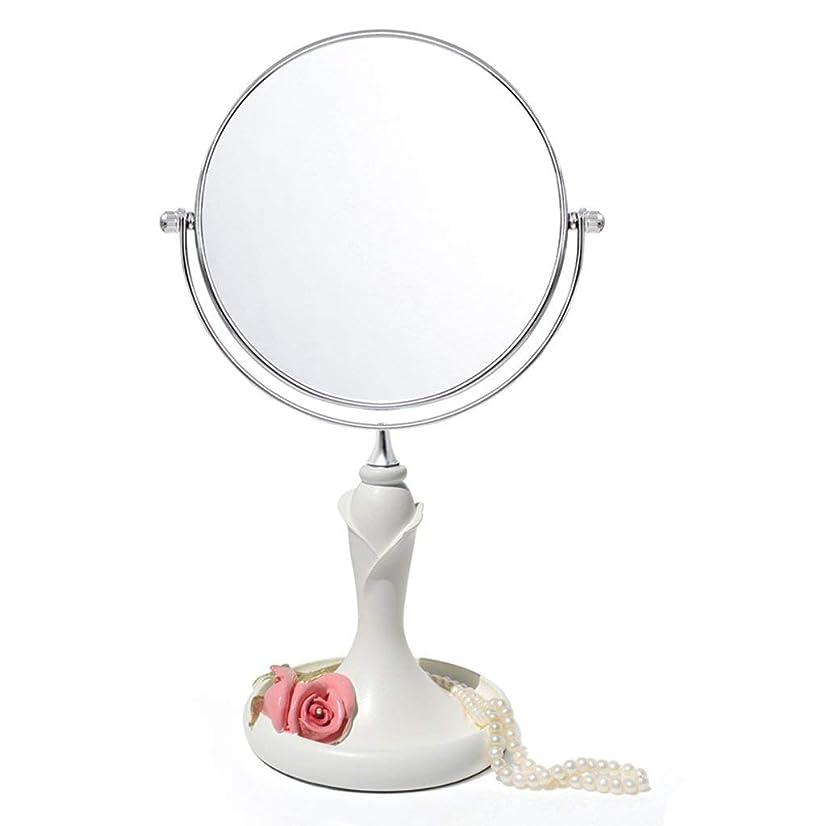 襟従順な補助金化粧鏡3x拡大コンチネンタル両面樹脂ファッションラブリーポータブルプリンセスミラー円形HD屋内バニティミラー360°;回転(色:白、サイズ:34 * 16.5cm)