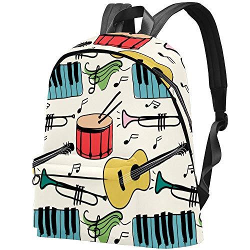 Musikinstrumente Piano Guitar Drum Pattern Bag Teens Student Bookbag Leichte Umhängetaschen Reiserucksack Tägliche Rucksäcke