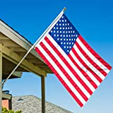Grace Alley Flag Pole Kit: Includes Tangle Free Flagpole - Flag Pole Bracket - Embroidered American Flag Made in USA