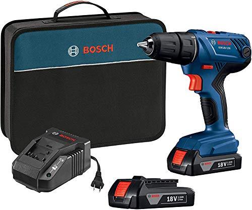 Bosch 18V Compact 1/2' Drill/Driver Kit with (2) 1.5 Ah Slim Pack Batteries GSR18V-190B22