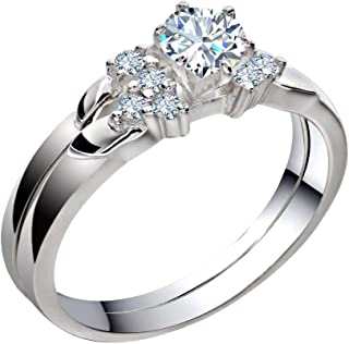 Stainless Steel Womens Wedding Engagement Rings Set Bridal Round White Cz Cubic Zirconia Band Size 5-11 SPJ