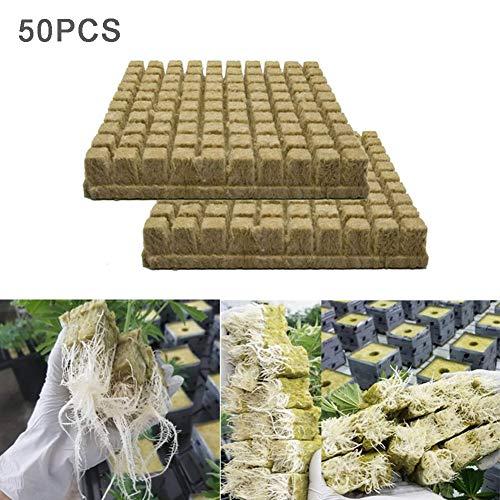 N/ A Steinwolle Anzuchtmatte, Würfel Samen Hydroponic Propagation Cloning Rockwool Blocks, 50/100 Stück Bodenloser Kultivierungswürfel für kräftiges Pflanzenwachstum (50)