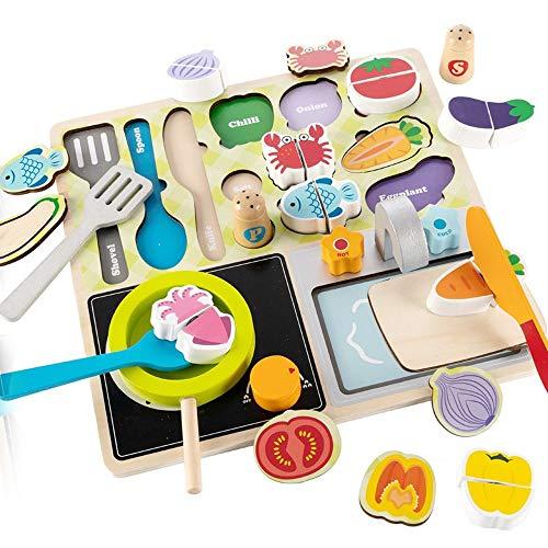 Lihgfw Houten speelgoed for de kinderen huis Keuken Koken Set gesneden groenten puzzel Baby Boy Girl Beneficial Intelligence 3-6 Years Old Early Education Ontwikkelen Multifunctionele Kitchen Toys