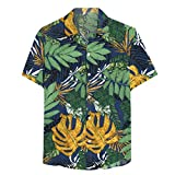 LEXUPE Herren Sommer Casual Hawaii Kurzarm Tropical Print Button Down T-Shirt Top(H-Grün,XX-Large)