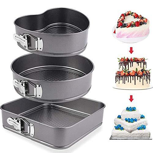Kuchenform Spring Form Kuchenform 3er-Set mit losem Boden - Antihaft-Schnellform-Springform Backen Käsekuchen Pfannenformen - Ideal für Biskuitkuchen