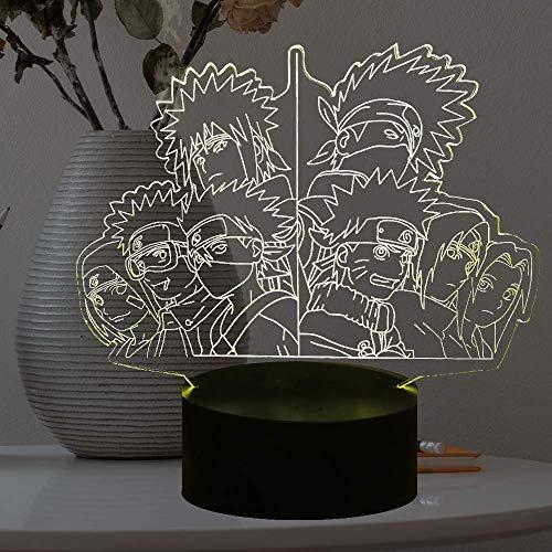 Naruto Uzumaki Lamp 3D óptico táctil Japón Anime Boy Fans Room Safe of Kids Sleep Produce Lámpara de escritorio LED 7 coloresLuz nocturna Vacaciones para adolescentes