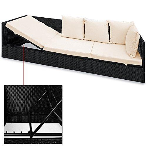 Polyrattan Liege mit Rückenlehne schwarz 7cm dicke Sitzauflagen verstellbarer Liegefläche - 2