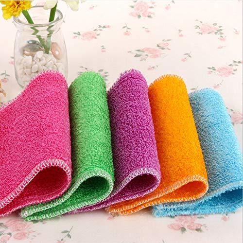 1Pcs Dish Cloth Bamboo Fiber High Efficient Anti-Grease Washing Towel Kitchen Cleaning Wiping Rag Six Colors