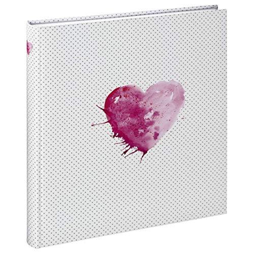 Hama Fotoalbum Lazise, Hochzeitsalbum mit 50 weißen Seiten für 250 Fotos im Format 10x15, Fotobuch zum einkleben und selbstgestalten, Album z.B. für Hochzeit, 29x32 cm, Aquarell Herz Motiv, weiß-pink