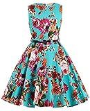 Girl's Knee-Length Florla Vintage Retro Cute Wedding Party Swing Dresses 6~7Yrs K250-1