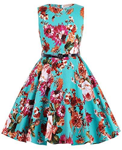 Kate Kasin Girls Sleeveless Round Neck Floral Printed Holiday Dress 13-14yrs K250-1
