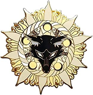Black wolf lupo nero luna mistico enamel pin spilla