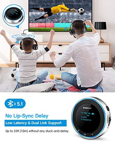 ELEGIANT Bluetooth 5.1 Adapter Audio 2 in 1 Transmitter Empfänger mit OLED-Anzeige Low Latency AUX/RCA Sender/Receiver für TV Stereoanlage Kopfhörer Lautsprecher Laptop