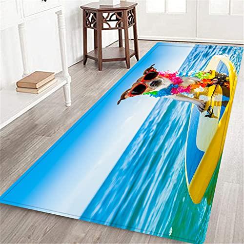 CONICIXI Felpudos Entrada Casa,Perro surfeando en una Tabla de Surf con una Cadena de Flores y Gafas de Sol,en la Orilla del mar Alfombra Pasillo Largos - Área De Alfombrillas para casa