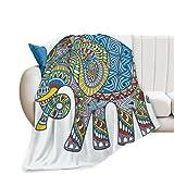 Franela manta vector dibujado a mano color tatuaje doodle con decorado elefante indio aire acondicionado habitación mascota cama doble salón sofá playa camping caravana manta wj 50x60 pulgadas