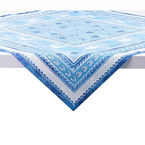 Sovie Home Linclass® Airlaid Tischdecke Seaside | Mitteldecke 80x80 cm stoffähnlich | edle Tischdeko Meer Muschel Koralle | blau