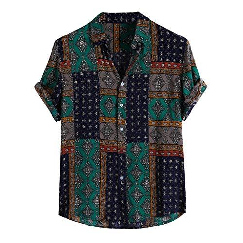 HOUMENGO Strandhemd, Herren Hemd, Mens Ethnic Style Sommer Kurzarm Lose Knöpfe Freizeithemd Bluse Tops, A2-Grün, XXL